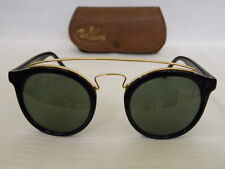 New Vintage B&L Ray Ban Gatsby Combo Style 4 W0932 Black Round Sunglasses NOS