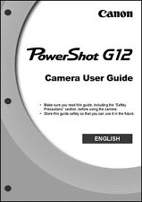 Canon Powershot G12  Digital Camera User Guide Instruction  Manual