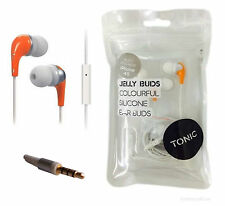 IN EAR ORANGE HEADPHONES EARPHONES JELLY FOR IPHONE 4 4S IPOD SONY SUMSUNG HTC