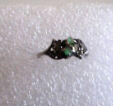 fine bague ancienne pierres fleurs 1900 argent poinçon 1,2gr T51 petit doigt