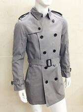 MEN'S PRE OWNED BURBERRY DOUBLE BREASTED TRENCH JACKET GREY SIZE MEDIUM