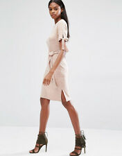 Lavish Alice Nude Pink Rib Tie Belt Jersey Dress New  8 10 12 14