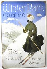 WINTER PARK SKI STEEL SIGN Colorado Snow Sports NEW Vintage Repro Retro USA Tin