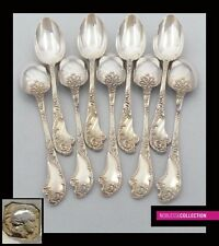 IMPRESSIVE ANTIQUE 1880s FRENCH STERLING SILVER TEA SPOONS SET 9 pc Rococo style
