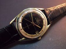 Vintage men's Universal Polerouter Date microrotor black dial gold plated case!!