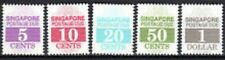 Singapore stamps - 1989 Postage Due final 5v set MNH