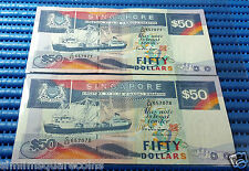 Singapore Ship Series $50 Note C/60 657077-657078 Run 2X Dollar Note Currency