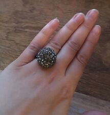 Pretty Vintage Style Ball Rhinestone Dress Ring/Grey Crystal Statement/Cocktail