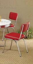 50's Retro Chrome Coke Chairs with Red Cushions by Coaster 2450R - Set of 2