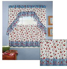 "3 Piece Cherries Kitchen Curtain Set With Ruffled Swag and 24""L Tiers"