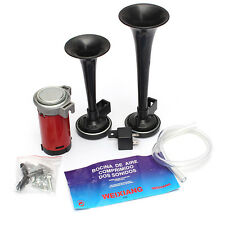12V 178db Black Car Truck Motorcycle Air Horn Train Kit Dual Trumpet Ultra Loud