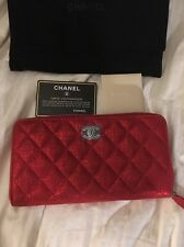 Chanel Zip Around Wallet Red Brand New With Hologram + Card