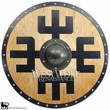 Solid Oak Viking Protection Symbol Shield -- sca/larp/norse/warrior/armor/Norway