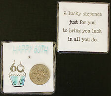 LUCKY SIXPENCE COIN KEEPSAKE FOR A 60TH BIRTHDAY 60
