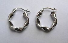 1.6cm wide 9Ct White Gold lightweight high polished twist Hoop Earrings 0.8g