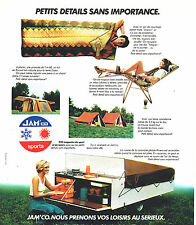 PUBLICITE ADVERTISING 114  1976  JAM'CO  SPORTS  camping  tente relax sac coucha