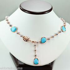 MIMi MILANO TALITA STATION NECKLACE FACETED TURQUOISE PEARL 18K ROSE GOLD 17""