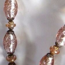 ANTIQUE PINK FOIL ART GLASS BEADS W/GOLDSTONE NECKLACE PIERCED BRASS BEAD CAPS