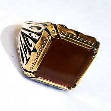 Turkish 925 S. Silver burgundy Agate Stone Men's Ring Sz 11.5 us #0901 fr.resize
