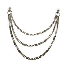 Triple Silver Diamond Cut Gothic Punk Jean Metal Chain Y1431D