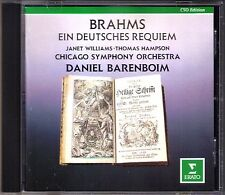Daniel BARENBOIM: BRAHMS Ein Deutsches Requiem CD Thomas HAMPSON Janet WILLIAMS