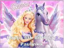 Barbie Personalised Wafer Paper Topper For Large Cake Various Sizes A4