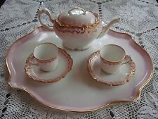 ANTIQUE LIMOGES TEA / COFFEE / SET, POT, 2 CUPS, 2 SAUCERS & TRAY, DOUBLE GOLD