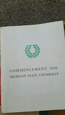 1969 MICHIGAN STATE UNIVERSITY MSU COMMENCEMENT PROGRAM.  76 pages.