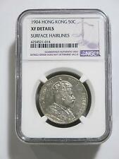 HONG KONG 1904 50 CENT NGC XF DETAILS TYPE ASIA SILVER OLD COIN COLLECTION LOT