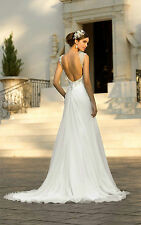 2017 New white/ivory Chiffon Backless Wedding Dress Bridal Gown Custom Size 6-20