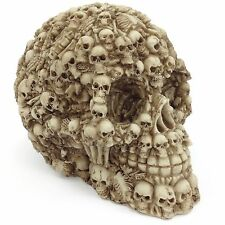 Skull Statue Figurine Covered In Skeleton Bones & Skulls Gothic Horror Decor