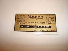 Monophone Automatic Electric Decals  Antique telephones
