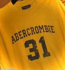ABERCROMBIE & FITCH LONG-SLEEVE TEE - MENS M - MUSTARD/GRAY