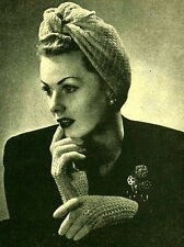 Vintage knitting pattern- how to make this wartime 1940s Turban hat & gloves