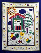 Farm Animal Barn Baby Quilt top Panel Fabric Cotton Apple tree Cow chicks