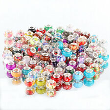 wholesale 50p multicolor SILVER MURANO bead LAMPWORK fit European Charm Bracelet