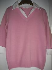 NEW LUXURY MARKS & SPENCERS  SHIRT STYLE JUMPER SIZE 10 100% MERINO WOOL