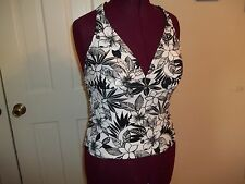 YOUR BEST LOOK LADIES SIZE XL SWIMSUIT TOP  TANKINI TOP BLACK/WHITE BATHING SUIT