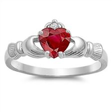 Ladies 925 Sterling Silver Red Ruby CZ Heart Irish Claddagh Ring Plus Size 10 T