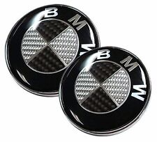 NEW BMW 82mm + 73mm Black Silver Carbon Fiber Emblems Trunk Hood Badge Logo Set