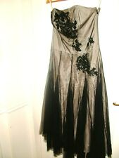 MONSOON ladies evening party cocktail strapless black & gold dress,size 12