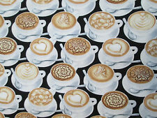 COFFEE DRINKS SPECIALTY CAFE ESPRESSO WHITE COTTON FABRIC FQ
