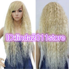 Long Blonde Beautiful lolita wig Wave wigs/Free wig cap