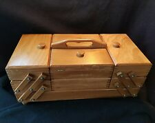 "Vtg Wood Fold out Accordian Sewing Box Wooden Tote Dovetailed Basket 18"" Long"