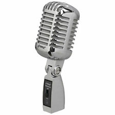 Pyle PDMICR42SL Classic Retro Vintage-Style Dynamic Vocal Microphone Silver