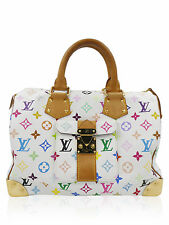 Louis Vuitton White Multi Color Murakami Speedy 30 Tote Handbag