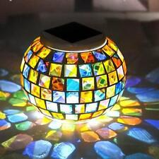 Solar Power Garden Decor Mosaic Color Changing Yard LED Outdoor Landscape light