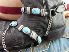 BLACK  LEATHER BOOT STRAPS (pair)TURQUOISE COL' STONE BIKER WESTERN,COWBOY,GOTH