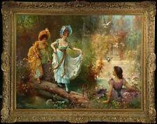 """Old Master-Art Antique Oil Painting Portrait Girl Fairy on canvas 30""""x40"""""""