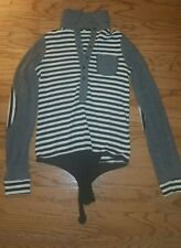 PATRICIA PEPE designer leotard sweater black/white stripes, Sz S stylish trendy